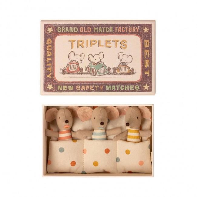 Maileg - bebe mišići, trojke u kutiji šibica