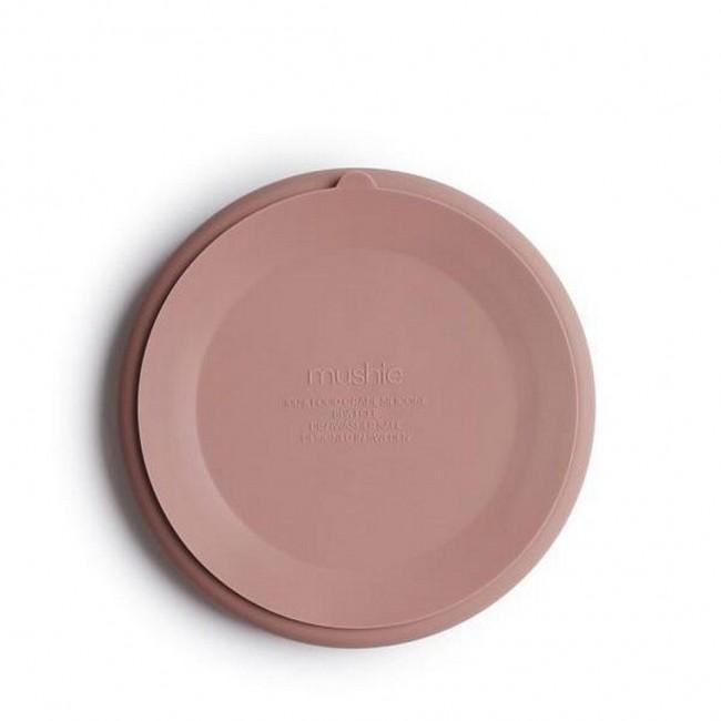 Mushie - Silikonski tanjir sa tri pregrade blush