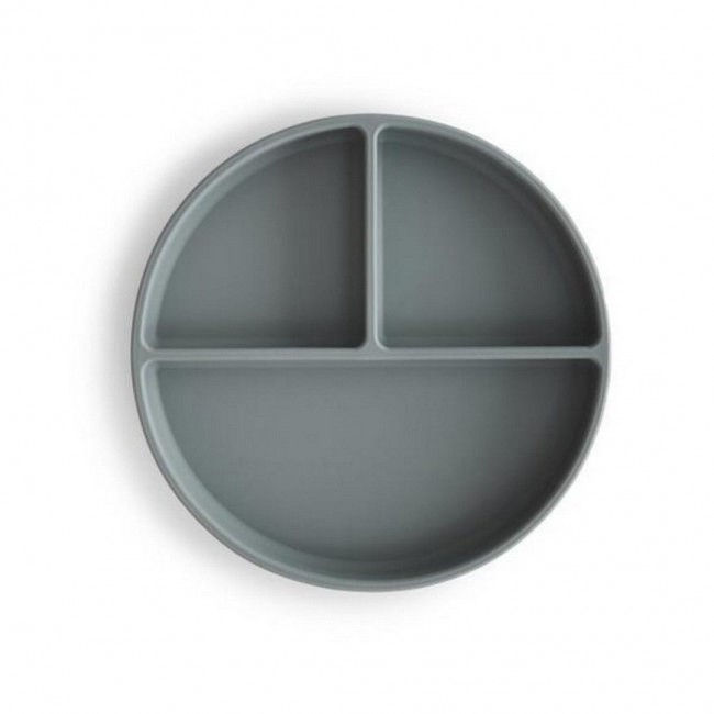 Mushie - Silikonski tanjir sa tri pregrade stone