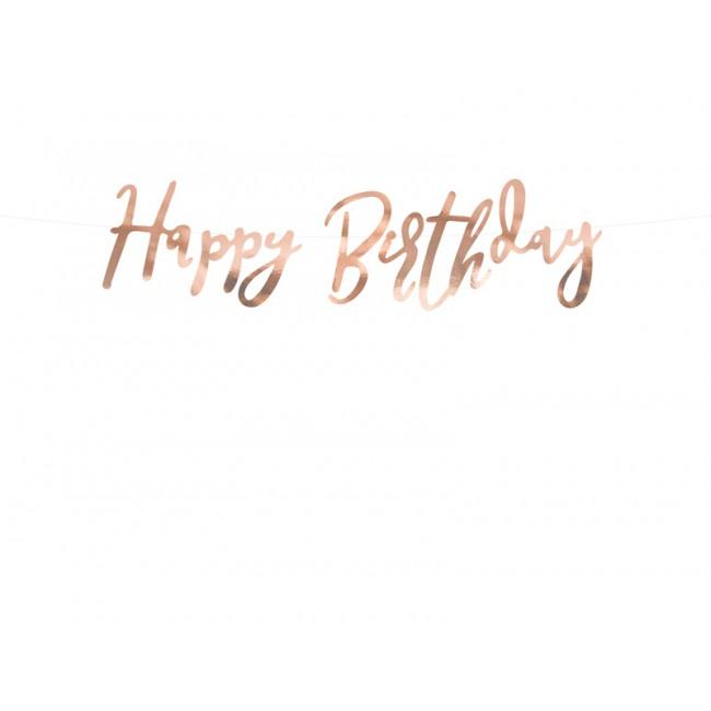 Party Deco - Baner Happy Birthday, roze zlatni