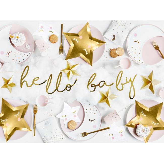 Party Deco - Baner little star - Hello Baby zlatni