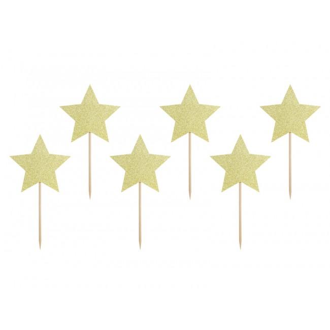 Party Deco - Toperi za kapkejk, zlatne zvezdice