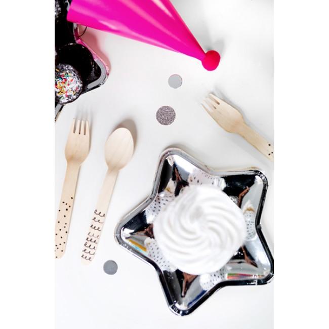 Party Deco - Drveni pribor za jelo, crni