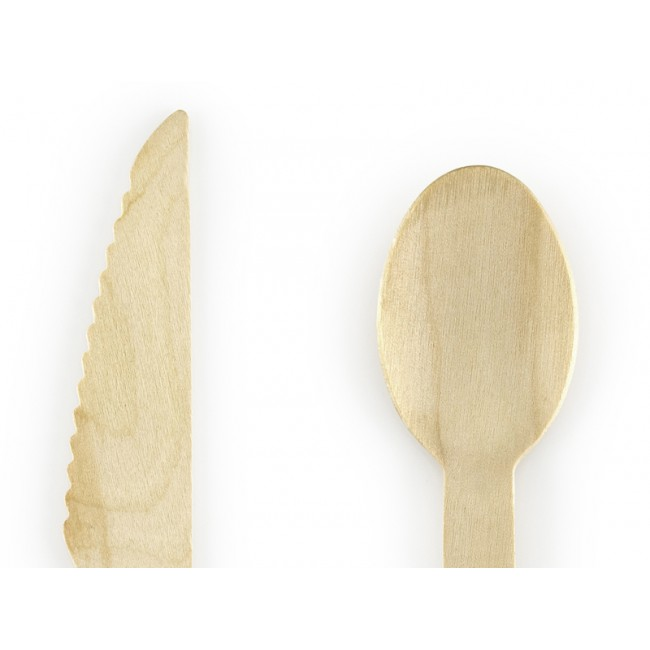 Party Deco - Drveni pribor za jelo, zlatni