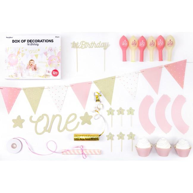 Party Deco - Dekoracija za prvi rođendan, zlatna