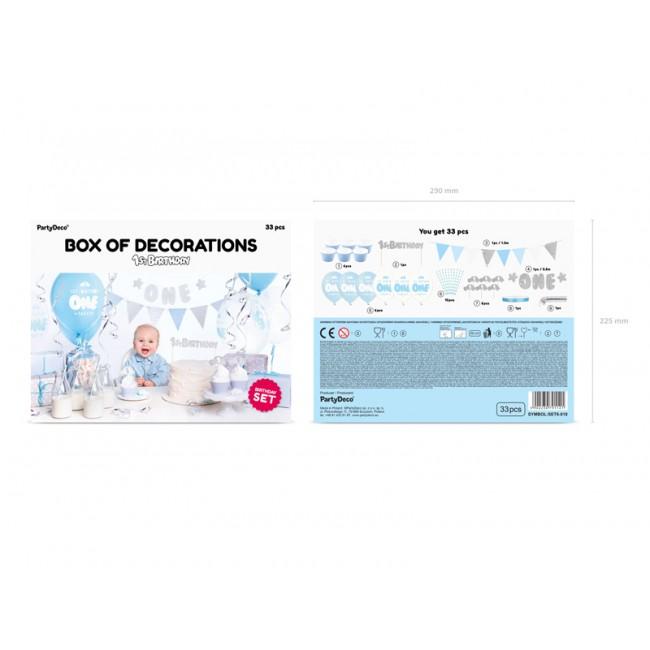 Party Deco - Dekoracija za prvi rođendan, srebrna